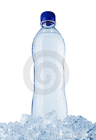 Water bottle in ice