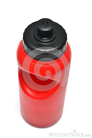Reusable energy drink or water bottle for sport on white background.