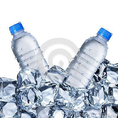 Free Water Bottles And Ice Cubes Stock Images - 65892394