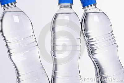Water bottles closeup