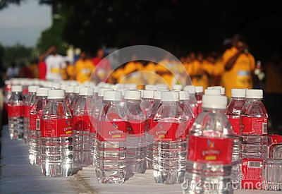 Water bottles in TCS World 10k bangalore marathon Editorial Photo
