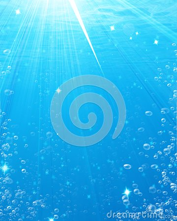 Water bubbles in an underwater scene
