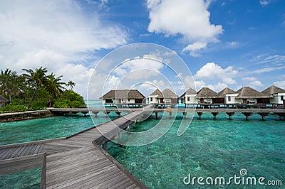 Water bungalows in maldives resort