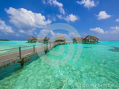 Water bungalows in paradise