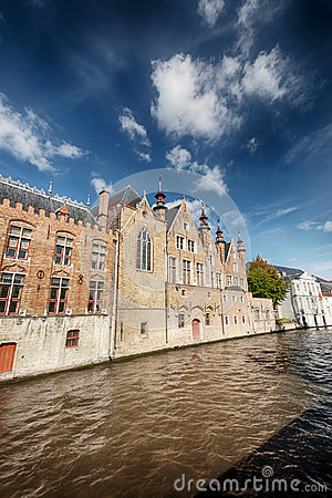 Water canal and old European buildings