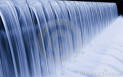 Water cascade streaming down