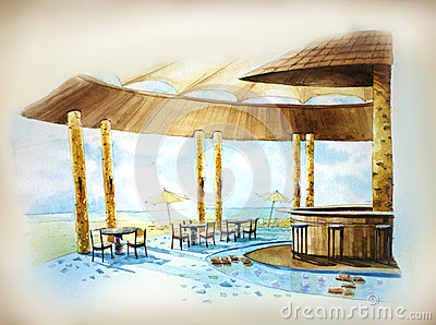 Water color resort by the beach illustration