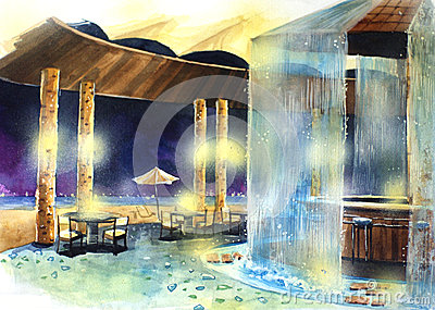 beach bar at night water color illustration