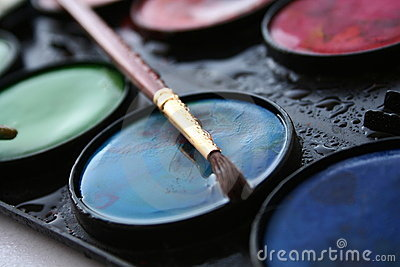 Water colors  and brush