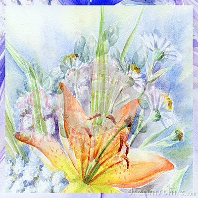 Water colour, bouquet with a lily