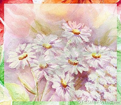 Water colour, flowers bouquet