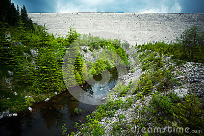 Water dam and river