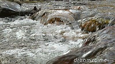 Water die onderaan kiezelsteenstenen golven in een natuurlijke beek stock video