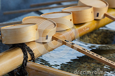 Water dippers at Gokoku Shrine in  Hiroshima castle