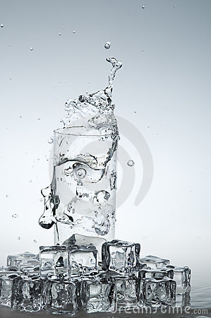 Water drink splashing out from glass