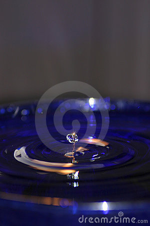 Water Drop in Blue Pool