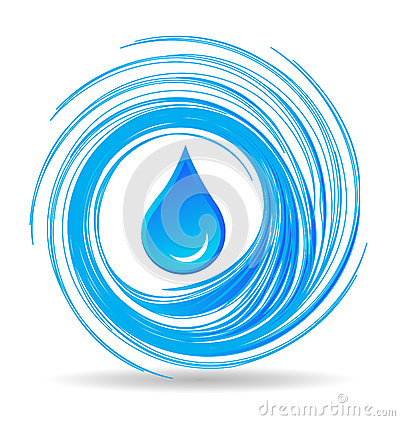 Water drop and blue waves