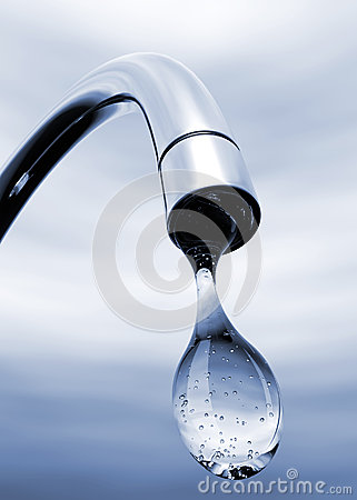 Free Water Drop Coming Out Of Tap Stock Photo - 45396010