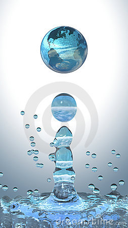 Water drop with earth