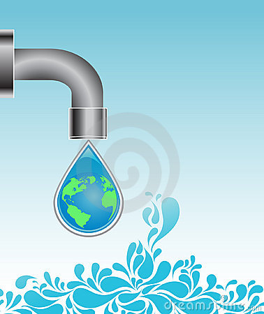 Water drop with earth globe