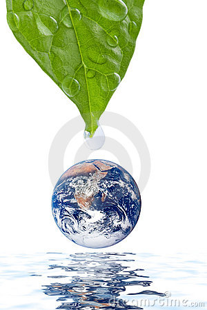 Free Water Drop Falling Onto Earth Planet Isolated Stock Photography - 7777492