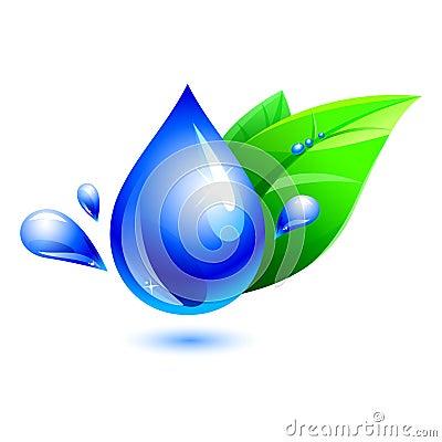 Water drop with leaf. aqua
