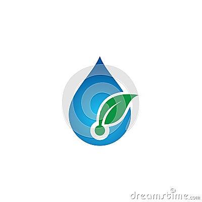 Water drop leaf eco logo Vector Illustration