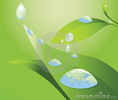 Water drop and world map