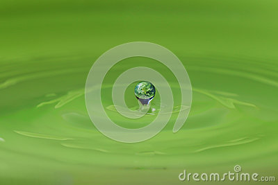 Water droplet and the earth