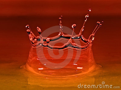 Water droplet with red and orange color