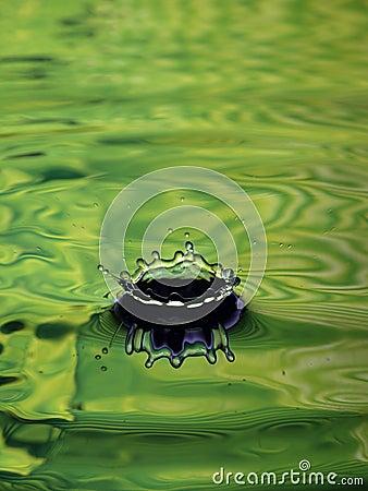 Water Droplet Ripple light green ring splash