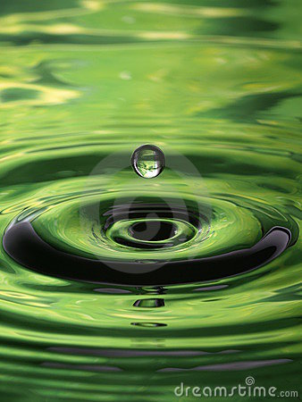 Free Water Droplet Ripple Pattern Green Single Drop Royalty Free Stock Photos - 10065718