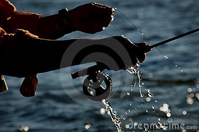 Water droplets fly fishing