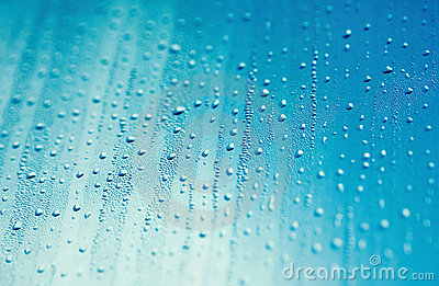 Water drops and blue sky
