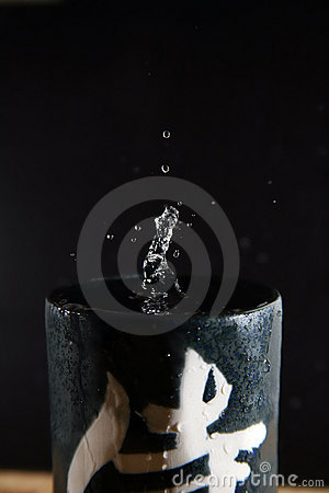 Water drops on a glass