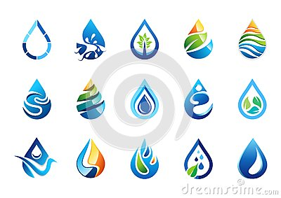 water drop logo, set of water drops symbol icon, nature drops elements vector design Vector Illustration