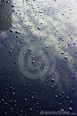 Water drops on the metal surface