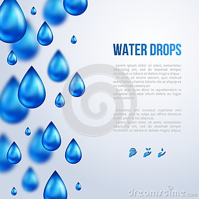 Free Water Drops. Vector Illustration. Rainy Day. Royalty Free Stock Photography - 46826847