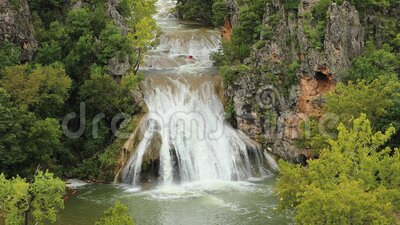 Water fall. In central Oklahoma after heavy rains stock video