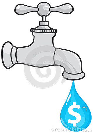 Water faucet with dollar dripping