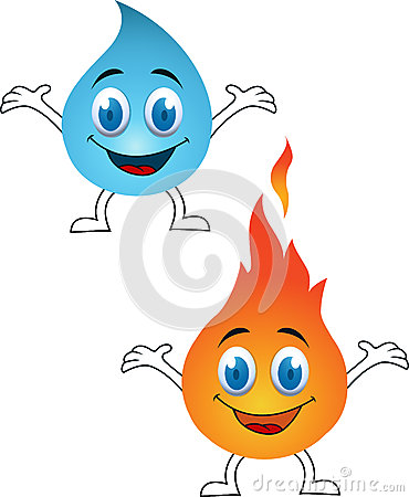 Water and fire cartoon