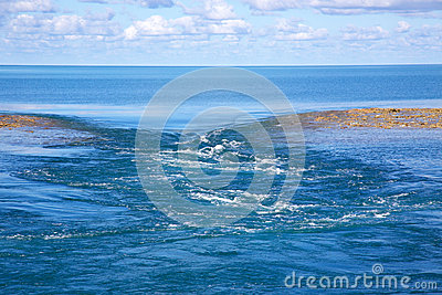 Water flowing through coral reef at low tide