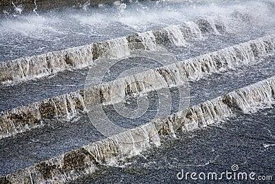 Water flowing downwards