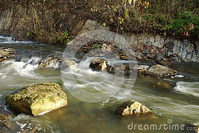 Water flowing in a mountain stream