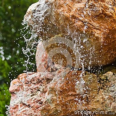 Water flowing over rocks closeup