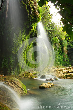 Water flowing on rocks