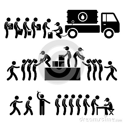 Water Food Stock Supply Relief Stick Figure Pictog