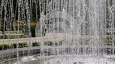 Water fountain in Bernardine public park stock footage