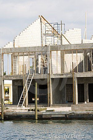 Water front house under construction
