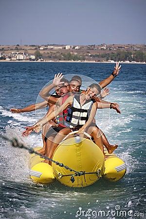 Water funnny sports-banana. Editorial Photography